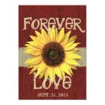 Barnwood and Sunflower Wedding Custom Invites