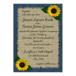 "Barnwood and Sunflower Wedding 5"" X 7"" Invitation Card"