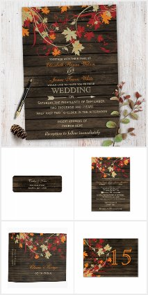 Barn wood Autumn Leaves Fall Wedding Collection