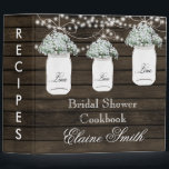 "barnwood Babys Breath in Mason Jar Recipe Folder<br><div class=""desc"">Rustic Barnwood Babys Breath flowers in Mason Jars,  string of lights Bridal shower Recipe Folder</div>"