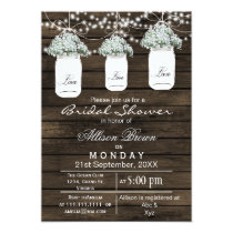 Barnwood babys breath mason jar bridal shower card
