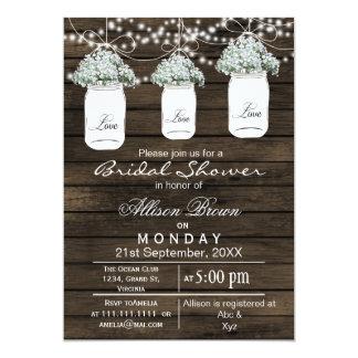 Barnwood babys breath mason jar bridal shower card