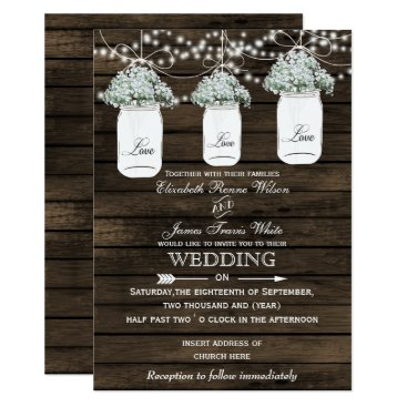 Barnwood baby's breath mason jar wedding invites