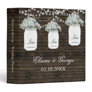 Barnwood Babys Breath Mason Jar Wedding Planner Binder