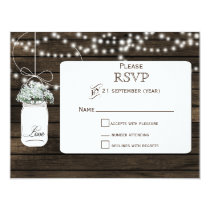 Barnwood baby's breath mason jars wedding RSVP Card