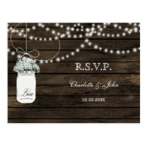 Barnwood baby's breath mason jars wedding RSVP Postcard
