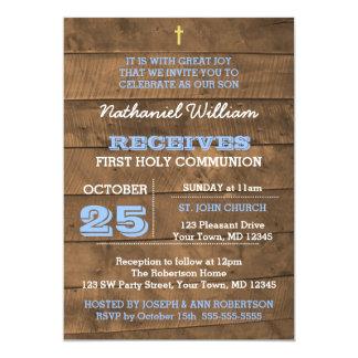 Barnwood Blue First Communion Invitation