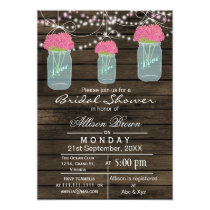 Barnwood  blue mason jar rustic bridal shower card