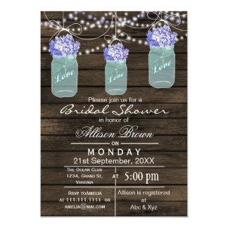 Barnwood blue mason jar rustic bridal shower 5x7 paper invitation card