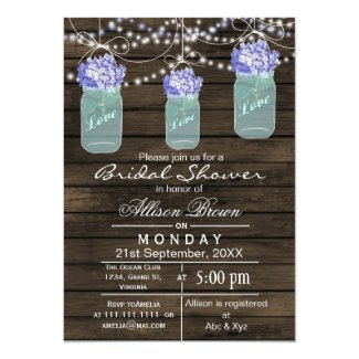 Barnwood blue mason jar rustic bridal shower 5x7 paper invitation card