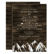 Barnwood Camping Rustic Mountains Wedding Invites