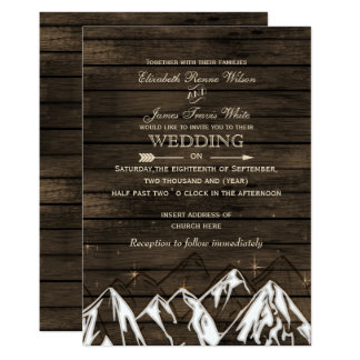 Barnwood Camping Rustic Mountains Wedding Invites