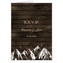 Barnwood Camping Rustic Mountains Wedding rsvp Card