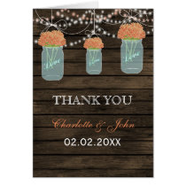 Barnwood coral floral mason jars  Thank You Card