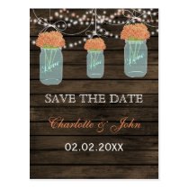 Barnwood coral flowers mason jars save dates postcard