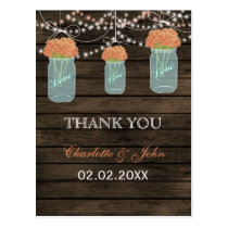 Barnwood coral flowers mason jars Thank You notes Postcard