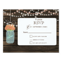 Barnwood coral flowers mason jars wedding RSVP Card