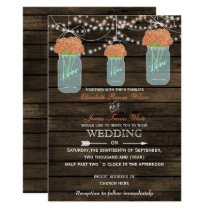 Barnwood, coral mason jar wedding invitations