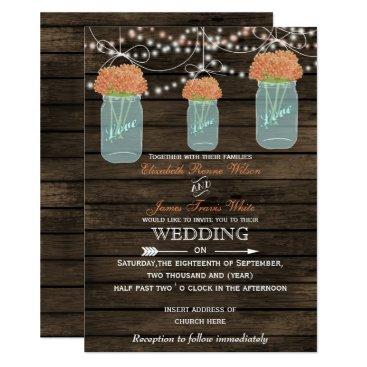 Barnwood, coral mason jar wedding invitations