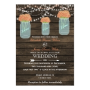 Rustic barnwood coral flowers in a mason jar wedding invites by mgdezigns