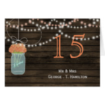 Barnwood coral mason jars table numbers card