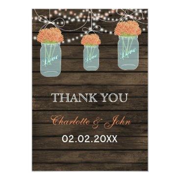 Barnwood coral mason jars Thank You Card