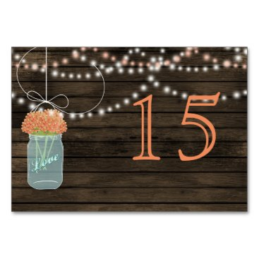 Barnwood coral mason jars wedding table numbers
