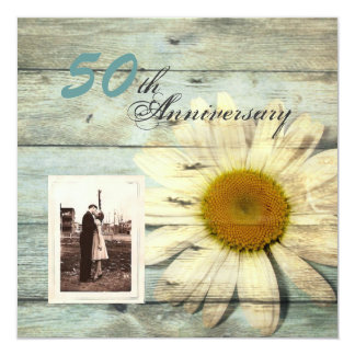 barnwood country daisy 50th wedding anniversary invitation