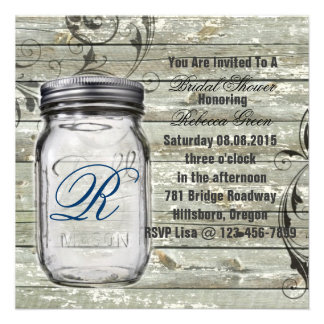 barnwood country rustic mason jar bridal shower personalized invite