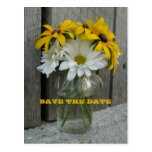 Barnwood, Daisies, Black Eyed Susans Save The Date Post Cards