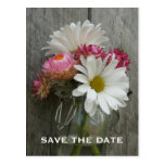 Barnwood, Daisies, & Strawflowers Save The Date Postcards