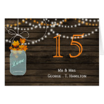 Barnwood fall leaves mason jars table numbers card