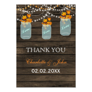 Barnwood fall leaves mason jars Thank You Card