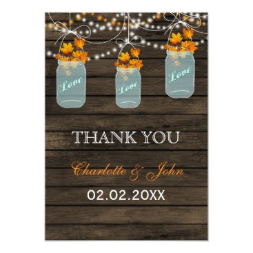 Barnwood fall leaves mason jars Thank You Card