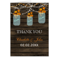 Barnwood  fall leaves mason jars Thank You cards