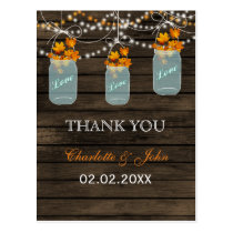 Barnwood  fall leaves mason jars Thank You notes Postcard