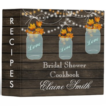 barnwood fall maple leaves Mason Jar Recipe Folder