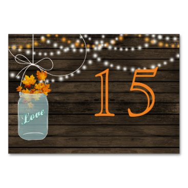 Barnwood fall mason jars wedding table numbers