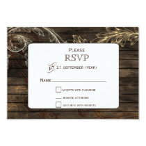 Barnwood flourish rustic wedding RSVP Card
