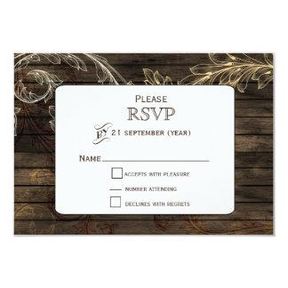 Barnwood flourish rustic wedding RSVP 3.5x5 Paper Invitation Card