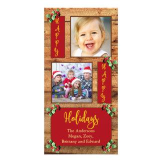 Barnwood & holly   2 photo holiday card