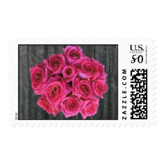 Barnwood & Hot Pink Roses Postage