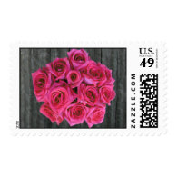Barnwood & Hot Pink Roses Postage