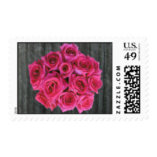 Barnwood & Hot Pink Roses Stamps