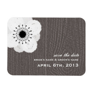 Barnwood Inspired French Anemone Save The Date Magnet