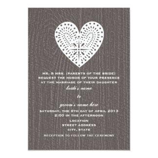Barnwood Inspired Lace Heart Wedding Invite