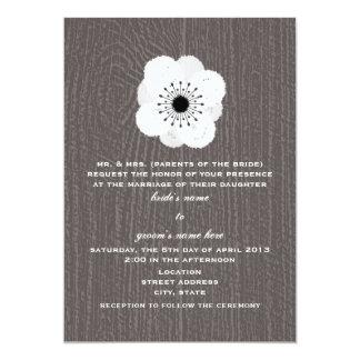 """Barnwood inspiró la anémona francesa que el boda invitación 5"""" x 7"""""""