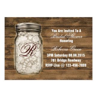 barnwood lace country mason jar bridal shower custom invitations