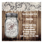 barnwood lace country  mason jar bridal shower custom announcement