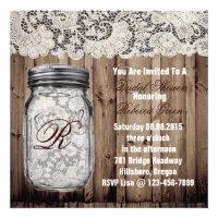 barnwood lace country  mason jar bridal shower custom announcement
